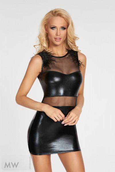 Schwarzes Wetlook-Kleid Moche