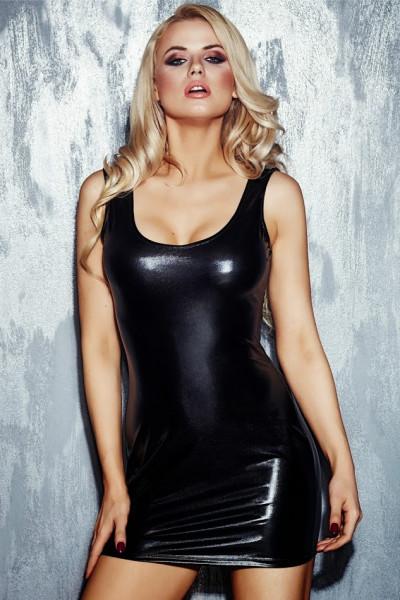 schwarzes Wetlook-Kleid Neona