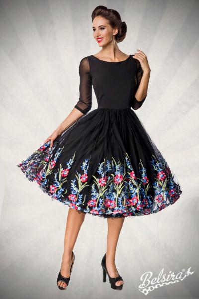 Premium besticktes Swing-Kleid