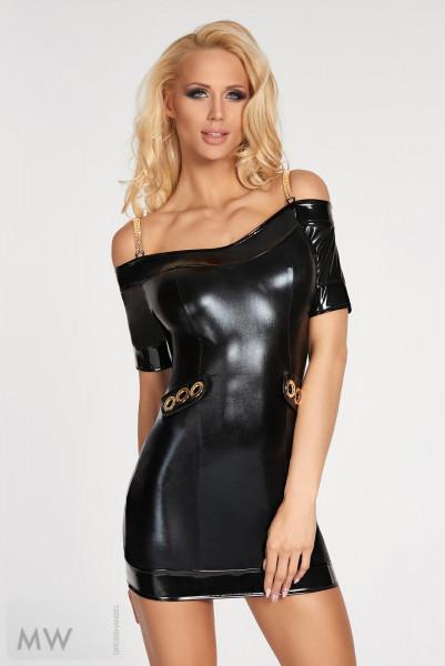 Schwarzes Wetlook-Kleid Diadema